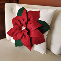 Holiday Decor Christmas Pillow Cranberry Poinsettia by bedbuggs