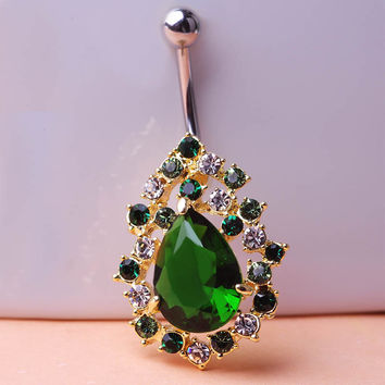 Big Emerald Rhinestone Rock Piercing Navel Ring 316LSteel Belly Button Ring Sexy Body Men Jewelry Violetta Gothic Personality