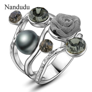 Nandudu Platinum Plated Wire Mesh Flower Ring Crystal & Simulated Pearl High Quality FLASH SALE Rings Female Jewelry Gift R852