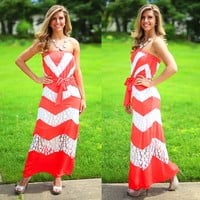 Jaded Chevron Maxi in Coral