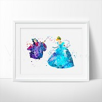 Cinderella & Fairy Godmother Watercolor Art Print