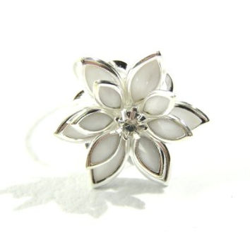 Lotus Flower Ring Adjustable Silver Tone White Floral RD08 Petals Crystal Fashion Jewelry