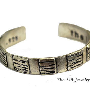 925 Sterling Silver Bracelet - Unisex Bracelet -Personalized Wrist Cuff, Horizontal Lines, Squares, Chiseled Grooves, 3/8' Width