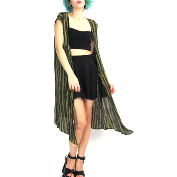 80s Draped Duster Vest Boho Hippie Open Long Vest Green Black Striped Ethnic Abstract Print Festival India Coverup Top Sleeveless Vest (M/L)