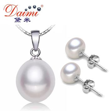 Pearl Jewelry Sets Silver Freshwater Pearl Pendant Necklace Studs Earrings Set Fine Jewelry White Pearl Sets