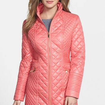 Women's Via Spiga Stand Collar Quilted Coat