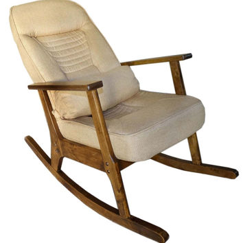 Wooden Rocking Chair For Elderly People Japanese Style Chair Rocking Recliner Easy Chair Adult Armrest Rocking Chair Cushions
