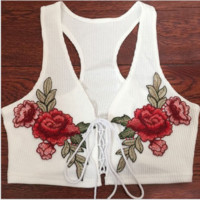 Sexy V-neck bandage flower  embroidered vest women top