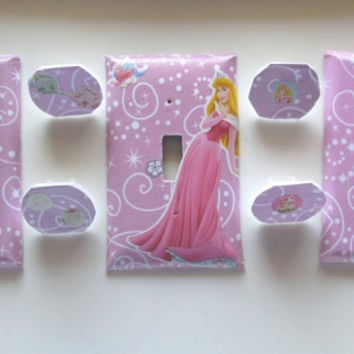 Princess Switch Plate and Wall Socket Cover with Plugs, 7 Pc Set light and plug cover