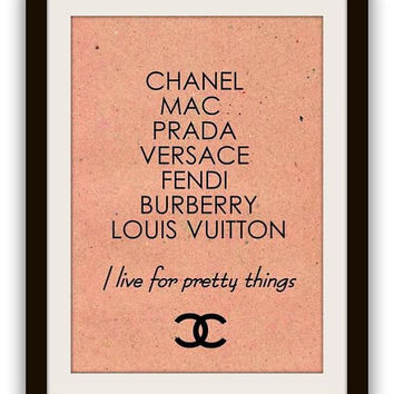 Chanel, pretty things, girl rrom decor, quotes word art, vintage, beige, printable, sign, wall home decor, poster decals, paris, girly prada