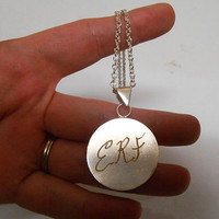 Initial Necklace Letter necklace Engraved Initials silver necklace personalized jewelry