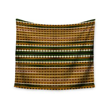 """Ebi Emporium """"Hearts Together, Gold Green"""" Gold Green Mixed Media Wall Tapestry"""