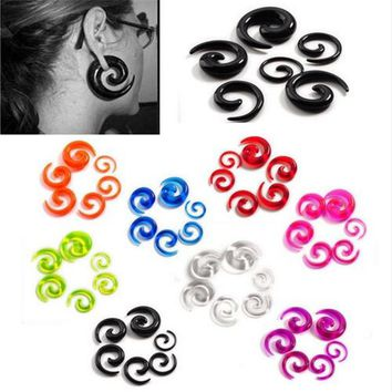 12Pcs/set Acrylic Spiral Ear Stretching Tapers Body Jewelry Mix Lots 2-8mm Acrylic Ear Tapers Fake Ear Expander Plug Tunnel Kit