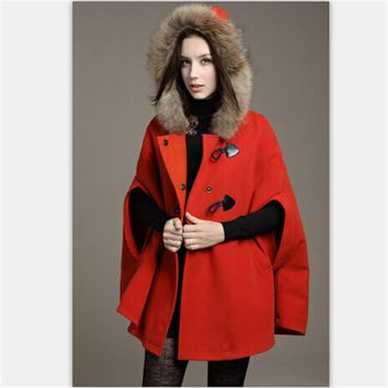 Women Trench Casual Winter Thick Wool Blends Fur Hooded Long Batwing Sleeve Ladies  Coat