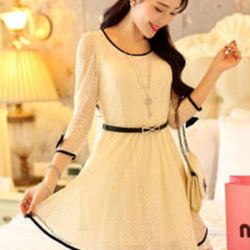 Sweet Stereo Bowknot Overlay Crochet Dress Lace Dress Japanese Dress