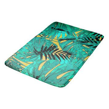 Tropical green leaves texture bath mat