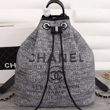 Chanel backpack silk embroidered bucket backpack N-3A-XNRSSNB