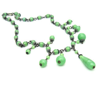 Art Deco Necklace. Czech Glass Necklace. Jade Green Satin Glass Bead Fringe Bib. 1930s Antique Art Deco Jewelry.