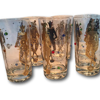 Set of 6 Vintage Culver Jeweled 22k Gold Jester Mardi Gras 1960s Harlequins Gems Highball Collins Glasses Barware Tumblers New Orleans