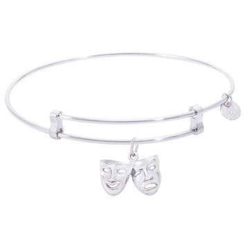Sterling Silver Confident Bangle Bracelet With Comedy And Tragedy Charm