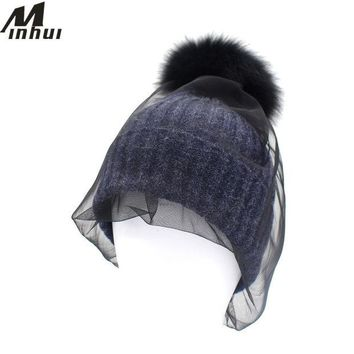 DCCKJG2 Minhui Real Fox Fur Pom Poms Hat Wool Rabbit Fur Knitted Hat Skullies Winter Hats for Women Girls Feminino Mask Net Beanies Hat