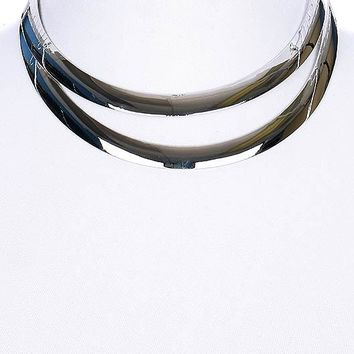 "13"" silver double layered open cuff choker collar necklace 1.25"" wide"
