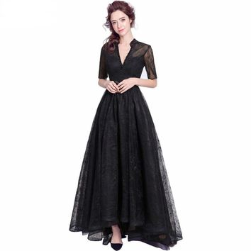 Black Lace Evening Dresses Half Sleeves Deep V neck Beaded Prom Gown Short Front Long Back Beautiful Dress