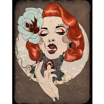 Lowbrow Smoking Hot Art Print by Artist Amy Dowell