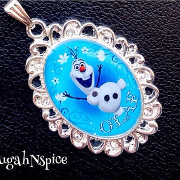 Frozen Olaf Inspired Necklace Pendant Cabochon for Chunky Bubblegum necklaces Frozen Pendant