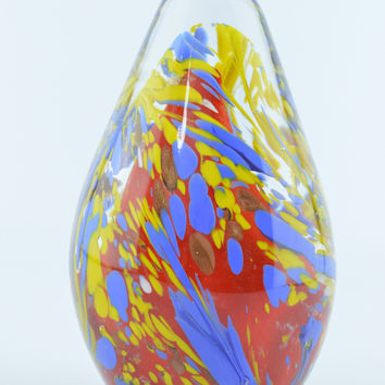 Blown Glass Spiral Paperweight Yellow Blue Red Egg Shaped Art