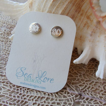 Monogram Earrings Sterling Silver Stud