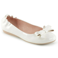 Pin Up Couture Olive White Patent Ballet Flats