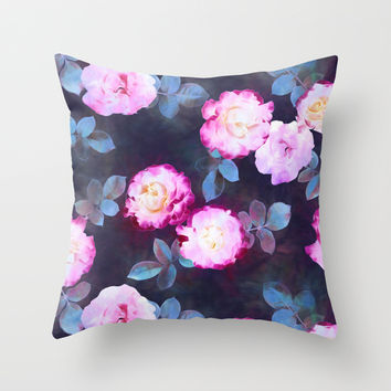 Twilight Roses Throw Pillow by Micklyn | Society6