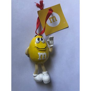 M&M's World Yellow Character Resin Christmas Ornament New with Tag