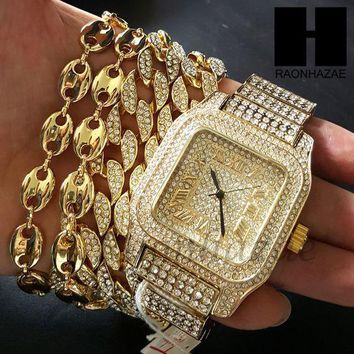 Iced Out Heavy Bezel Gold Watch