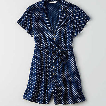 AEO Button Short Sleeve Romper , Navy