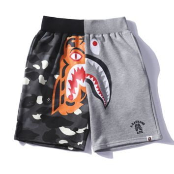 Bape Aape Summer Fashion New Tiger Shark Print Camouflage Women Men Shorts Gray