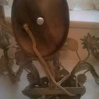 Antique Italian Tole Metal Arm Three Sconce, Architectural Lighting, Farmhouse Chic, Toleware Flowers, Metal Sculpted Flowers