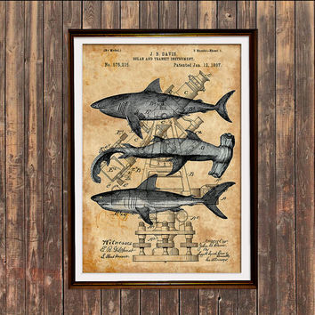 Sharks print Steampunk poster Nautical art Patent print SOL220