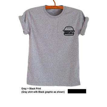 Hamburger Tee Shirts with Pockets Unisex T Shirt Gray Graphic Tee Outfits Tumblr Instagram Pinterest Gifts