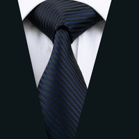 New Men Ties Black Stripe Neck Tie 100% Silk Jacquard Ties For Men Business Wedding Party