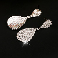 New Fashion 1pair Luxury Crystal Rhinestone Vintage Silver Color Dangle Drop Earrings Women Prom Jewelry