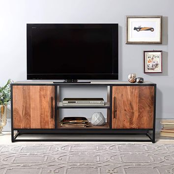 54 Inch Metal Frame TV Console with 2 Side Door Cabinets, Black and Brown By The Urban Port