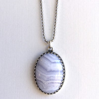 Blue lace agate necklace. Natural stone gemstone jewelry. Long silver ball chain.