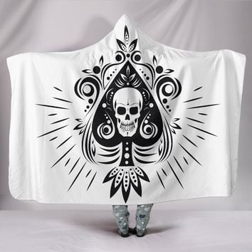 Skull Tattoo Design White Hooded Blanket