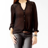 Lace Yoke Button Up