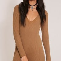 Navella Camel Deep V Knitted Jumper Dress - Knitwear - PrettylittleThing | PrettyLittleThing USA
