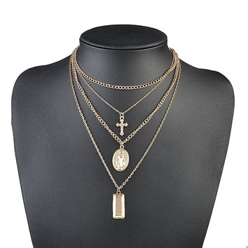 New Religious vintage Simple Chain Gold Silver Color Tassel Cross humanoid Pendant Multi Layer Necklace Fine Jewelry For Women