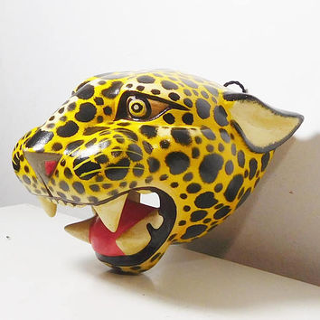 Vintage Hand Carved Painted Wood Sculpture Animal Head Cheetah Leopard Figurine Wall Hanging Decor