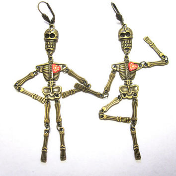 Dancing Skeleton Earrings Day of the Dead Heart Articulated Skull Jewelry